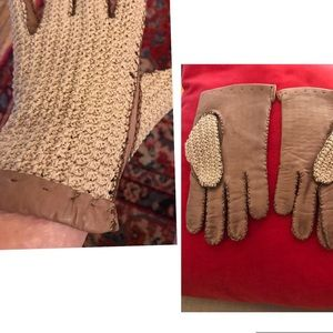 Vintage classic Riding gloves-crocheted & leather